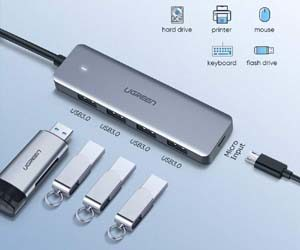 UGREEN HUB USB C a USB 3.0 4 Puertos, OTG Adaptador USB-C 5Gbps