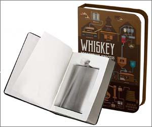 Petaca dentro de un libro con cuaderno