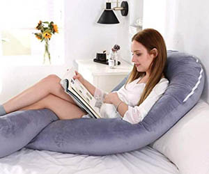 Almohada de lactancia, en U, desenfundable, para embarazo, almohada de cuerpo
